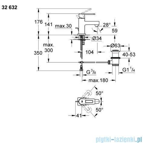 Grohe Quadra bateria umywalkowa bez korka DN 15 niska chrom 32632000
