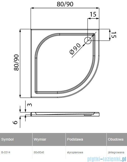 New Trendy Ideo brodzik półokrągły na podstawie styropianowej 80x80x5cm B-0314