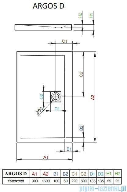 Radaway Argos D Brodzik prostokątny 160x90x5,5cm 4AD916-01