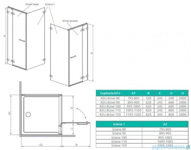 Radaway Euphoria KDJ Drzwi prysznicowe 110 prawe szkło przejrzyste 383041-01R