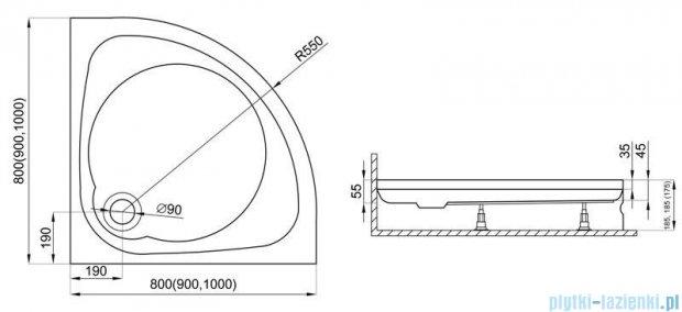 Polimat Nowy Styl 2 brodzik półokrągły 100x100x17 cm 00629