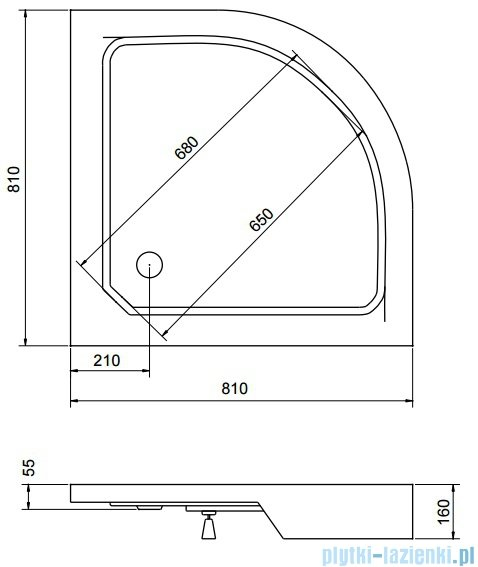 Sea Horse Sigma zestaw kabina natryskowa półokrągła 80x80cm grafit+brodzik BKZ1/3/RG