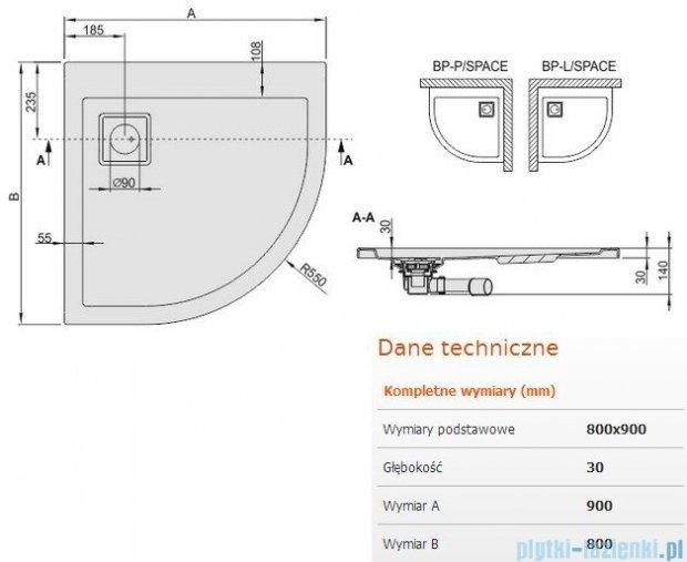Sanplast Space Line brodzik półokrągły 90x80x3cm prawy+syfon 615-110-0430-01-000