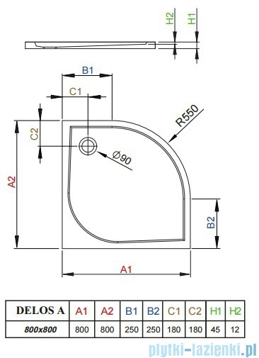 Radaway Brodzik półokrągły Delos A 80x80 SDA0808-01