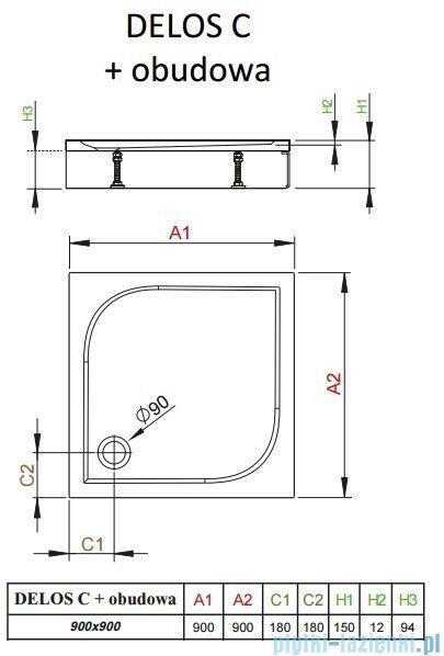 Radaway Brodzik kwadratowy Delos C 90x90x14 z obudową 4C99170-03