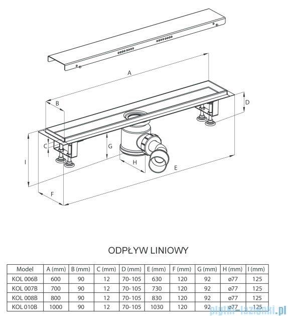 Deante odpływ liniowy z rusztem pełnym 80x12x12,5 cm KOL 008B