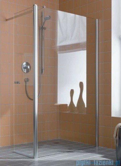 Kermi Atea Ściana boczna wolno stojąca z ruchomym skrzydłem, prawe, szkło przezroczyste, profile srebrne 90cm ATTFR09018VAK