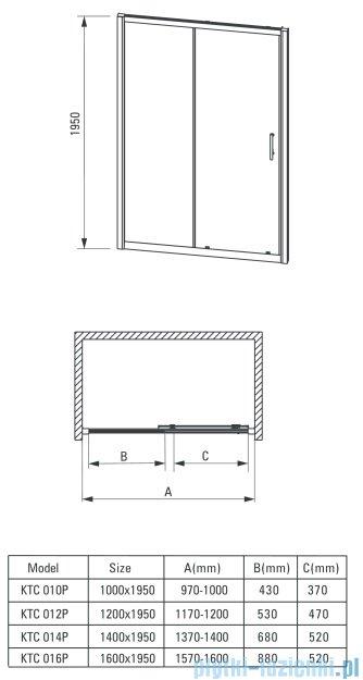 Deante Cynia drzwi wnękowe przesuwne 120x195 cm przejrzyste KTC 012P