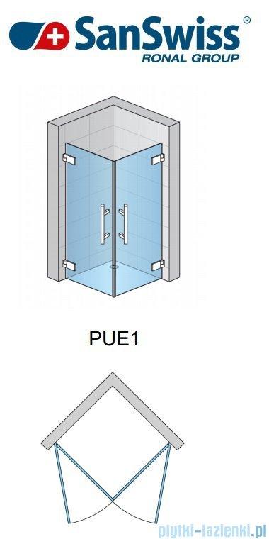 SanSwiss Pur PUE1 Wejście narożne 1-częściowe 40-100cm profil chrom szkło Krople Prawe PUE1DSM11044