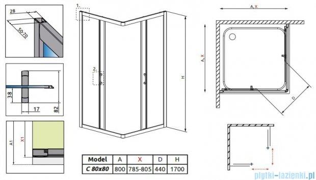 Radaway Premium Plus C Kabina kwadratowa 80x80x170 szkło przejrzyste 30461-01-01N