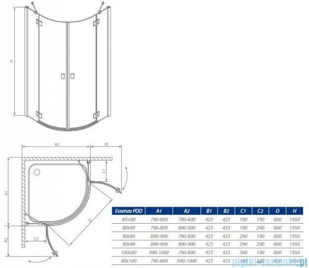 Radaway Kabina prysznicowa Essenza PDD E 90x80 szkło przejrzyste + brodzik Siros E Compact lewy + syfon 32532-01-01N