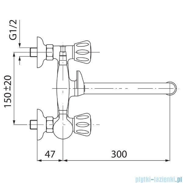 Ferro Standard Bateria wannowo-prysznicowa ścienna chrom BST11A