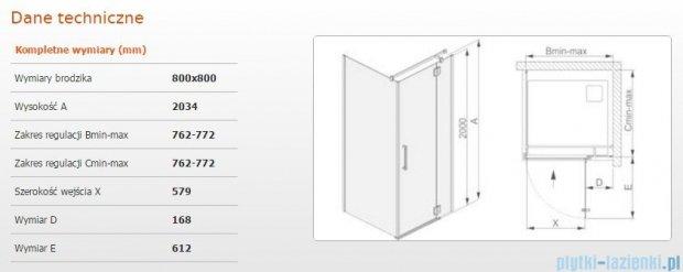 Sanplast kabina narożna kwadratowa prawa przejrzyste KNDJ2P/AVIV-80 80x80x203 cm 600-084-0030-42-401