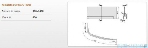 Sanplast Free Line obudowa do wanny prawa 90x140cm biała 620-040-0940-01-000