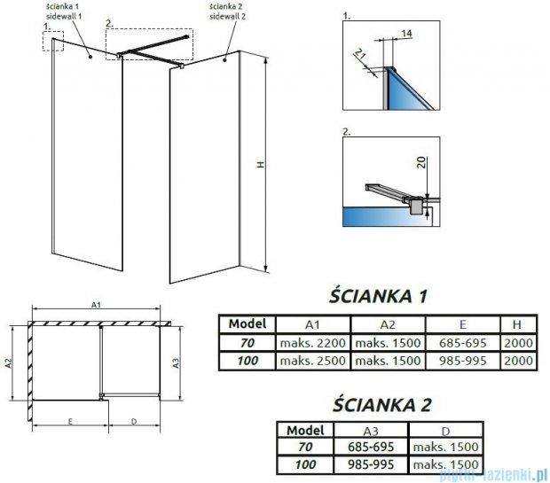Radaway Modo New III kabina Walk-in 100x70x200 szkło przejrzyste 389104-01-01/389074-01-01/389000-01