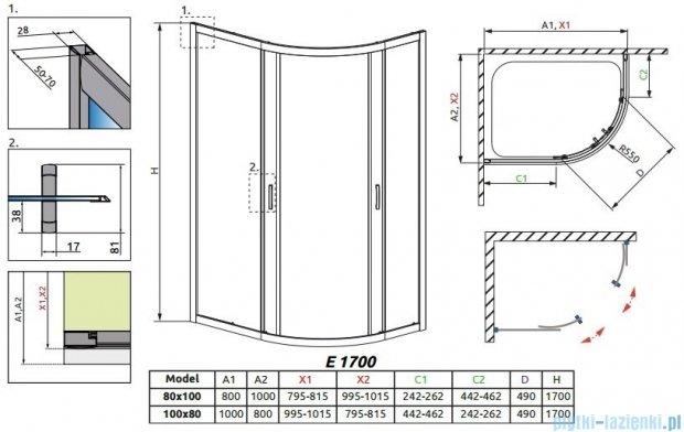 Radaway Premium Plus E Kabina półokrągła z drzwiami przesuwnymi 100x80cm szkło przejrzyste 30481-01-01N
