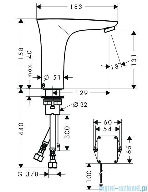 Hansgrohe PuraVida Electronic Samoczynna bateria umywalkowa na podczerwień 15170000