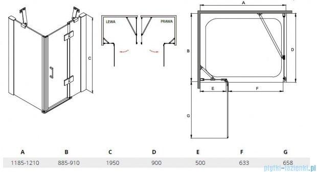 Besco Viva kabina prostokątna lewa 120x90x195cm przejrzyste VPL-129-195C