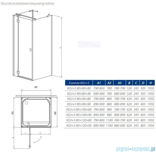 Radaway Essenza KDJ+S kabina 90x90 lewa szkło przejrzyste + Brodzik Delos C + syfon 32902-01-01L