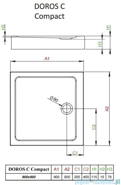 Radaway Doros C Compact brodzik kwadratowy 90x90x11,5cm SDRC9090-05