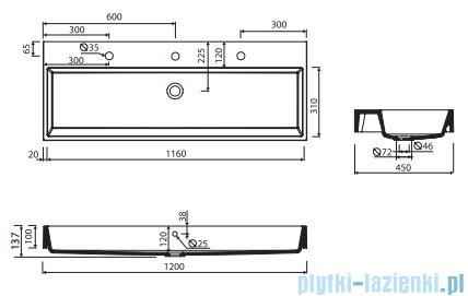 Marmorin Teo 1200 umywalka wisząca 120x45 bez otworu przelewowego i bez otworu na baterie biała 641120020010