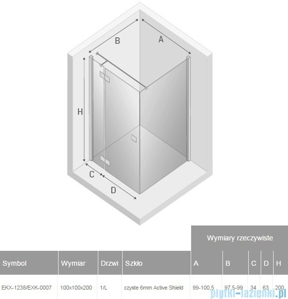 New Trendy Reflexa 100x100x200 cm kabina kwadratowa lewa przejrzyste EKX-1238/EXK-0007