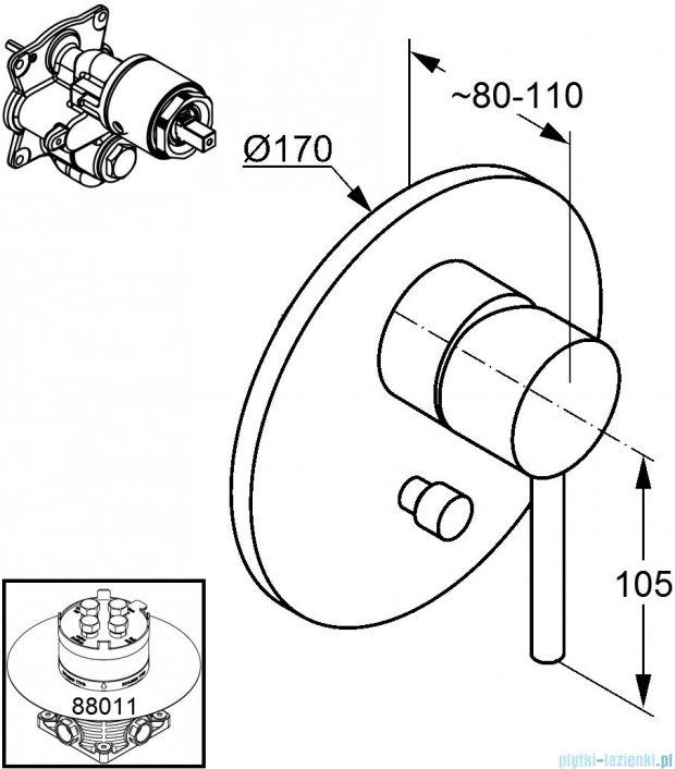 Kludi Bozz Podtynkowa bateria wannowo−natryskowa chrom 386500576