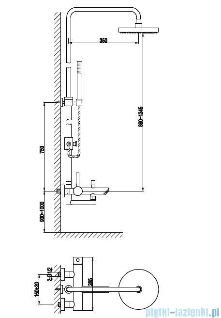 Kohlman Roxin zestaw prysznicowy z wylewką QW277R