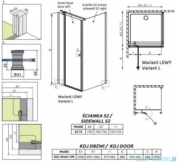 Radaway Eos II Kdj kabina prysznicowa 100x75cm lewa szkło przejrzyste 3799422-01L/3799429-01R