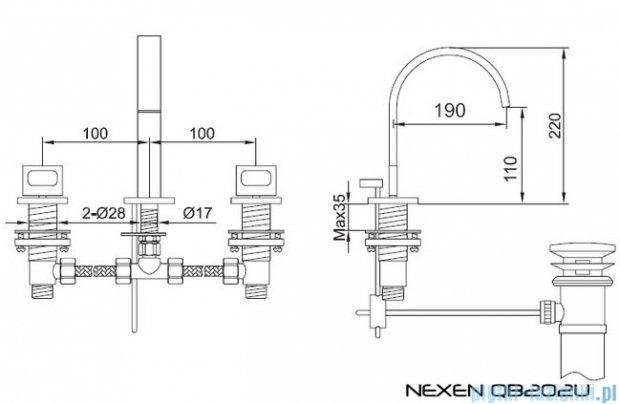 Kohlman Nexen 3-otworowa bateria umywalkowa QB202U