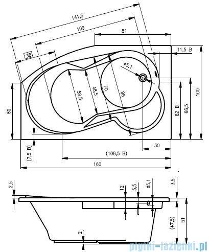 Riho Nora wanna asymetryczna 160x100cm prawa nóżki+syfon BA74/08/AMC55