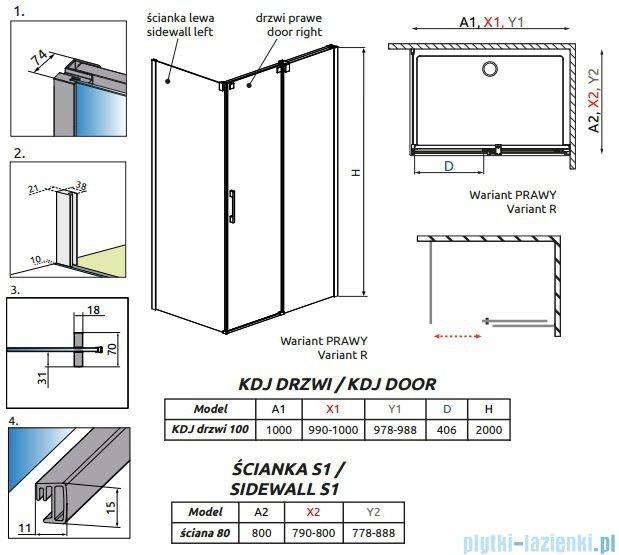 Radaway Espera KDJ Kabina prysznicowa 100x80 prawa szkło przejrzyste + Brodzik Argos D + syfon 380130-01R/380148-01L