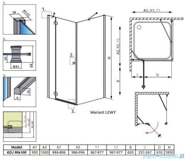 Radaway Torrenta Kdj Kabina prysznicowa 90x100 lewa szkło przejrzyste + brodzik Doros D + syfon 32240-01-01NL