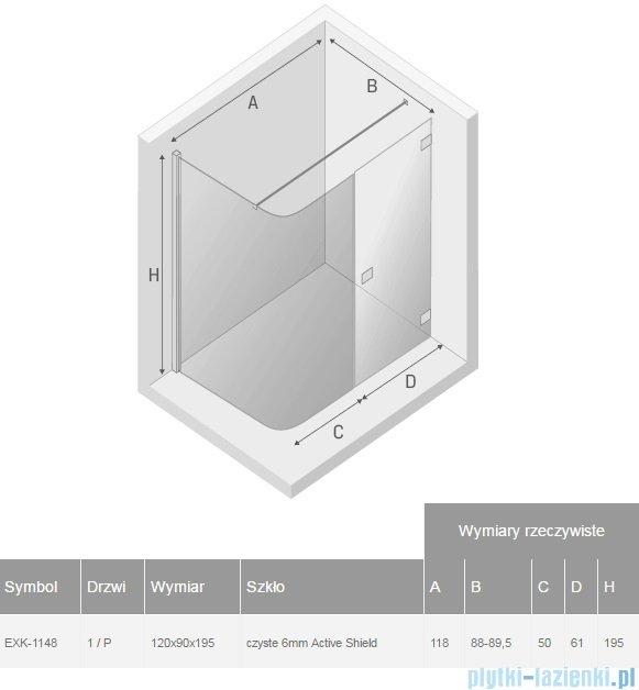 New Trendy Arena kabina prysznicowa asymetryczna 120x90cm prawa przejrzyste EXK-1148