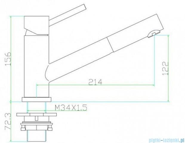 Omnires Nokite bateria zlewozmywakowa z wyciąganą wylewką inox S1381P