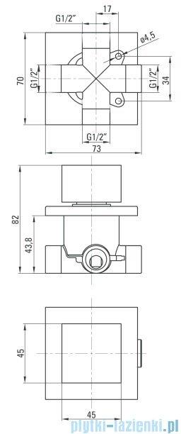 Deante Multi-System przełącznik funkcji natrysku kwadratowy chrom NAC 00AP