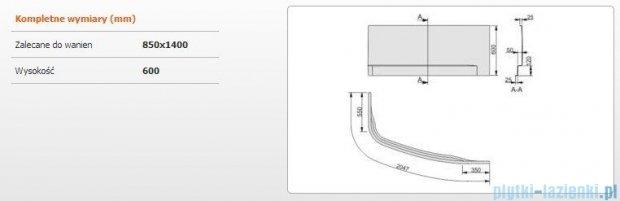 Sanplast Obudowa do wanny Free Line prawa, OWAP/FREE 85x140 cm 620-040-0740-01-000