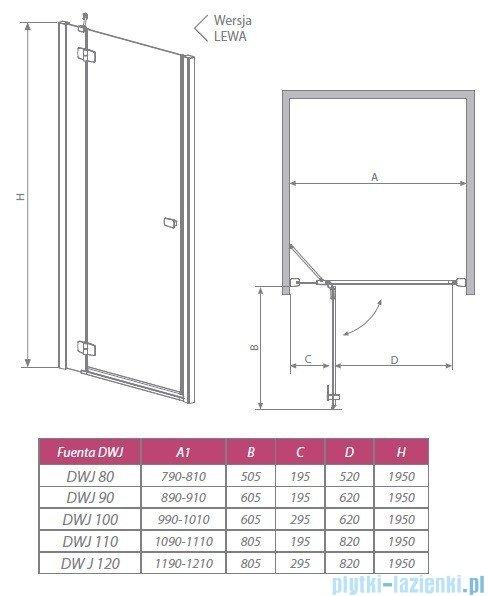 Fuenta DWJ Radaway Drzwi wnękowe 80 lewe szkło przejrzyste 381012-01NL