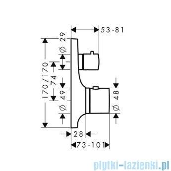 Hansgrohe Axor Bateria termostatowa podtynkowa z zaworem odcinającym 18745000