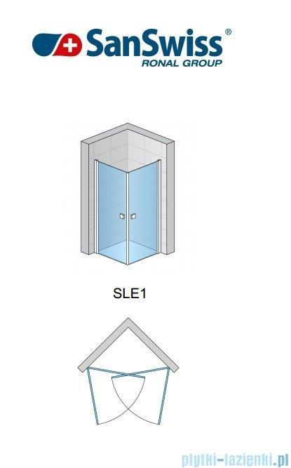 SanSwiss Swing-Line Sle1 Wejście narożne jednoczęściowe 100cm profil biały szkło przejrzyste Lewe SLE1G10000407