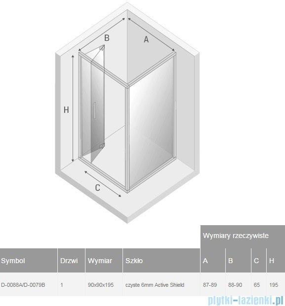 New Trendy Alta kabina kwadratowa 90x90cm przejrzyste D-0088A/D-0079B
