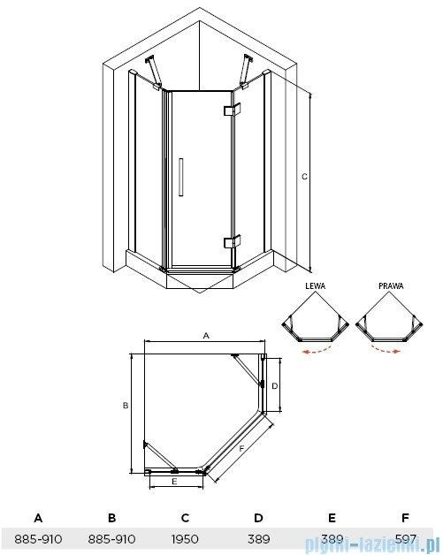 Besco Viva kabina pięciokątna prawa 90x90x195cm przejrzyste V5P-90-195-C