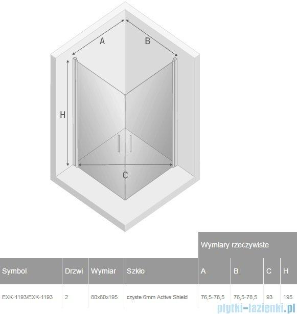 New Trendy Negra kabina prysznicowa dwudrzwiowa 80x80cm przejrzyste EXK-1193/EXK-1193