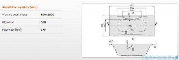 Sanplast Altus Wanna prostokątna WP-ALT/EX 180x80, 610-120-0250-01-000