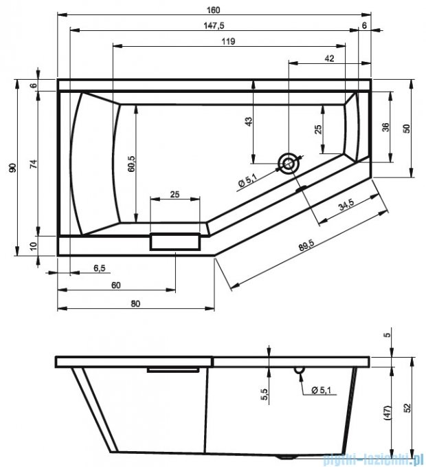Riho Geta wanna asymetryczna 160x90cm prawa z hydromasażem PRO Hydro 6+4+2/Aero11 BA86P7