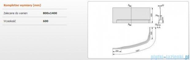 Sanplast Free Line obudowa do wanny lewa 80x140cm biała 620-040-0630-01-000