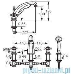 Kludi Adlon Bateria wannowa 4-otworowa wyższa wylewka DN 15 chrom 515240520