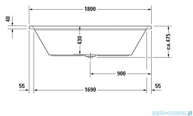 Duravit 2nd floor wanna prostokątna 180x80cm do zabudowy 700076 00 0 00 0000