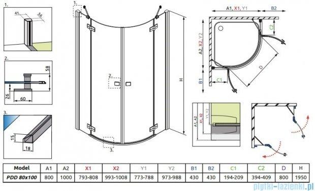 Radaway Almatea PDD E Kabina półokrągła 100x80 szkło przejrzyste 30542-01-01N