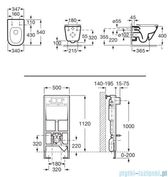 Roca Gap Rimless Stelaż podtynkowy Duplo+miska Wc podwieszana Maxi Clean A8900900MR